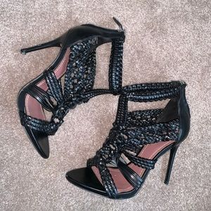 Black Leather Detailed Strappy Heels